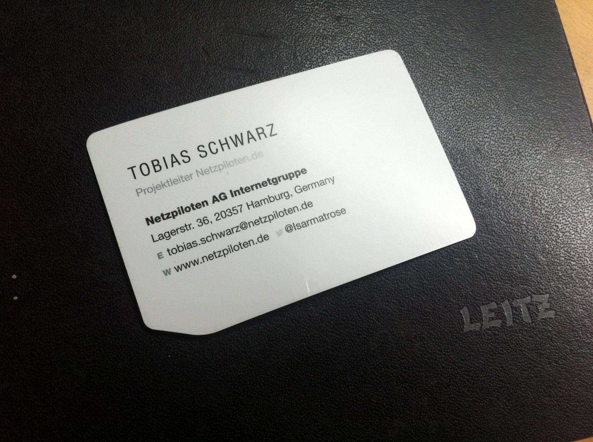 Visitenkarte Tobias Schwarz